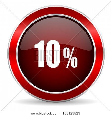 10 percent red circle glossy web icon, round button with metallic border