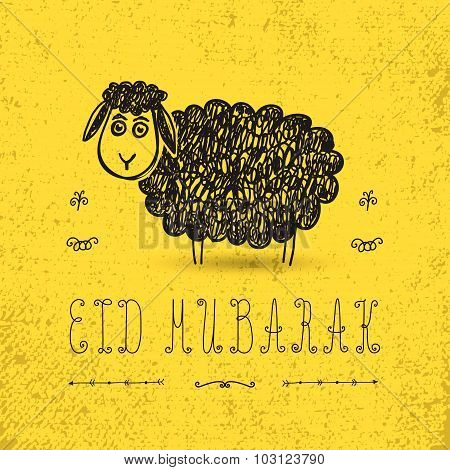 Illustration of sheep on yellow background for Islamic Festival