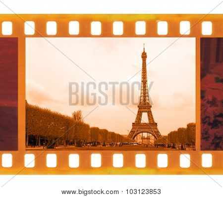 Vintage Old 35Mm Frame Photo Film With Eiffel Tower In Paris, France