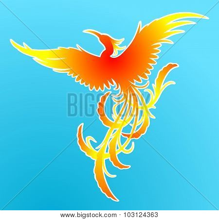 Flying fiery phoenix