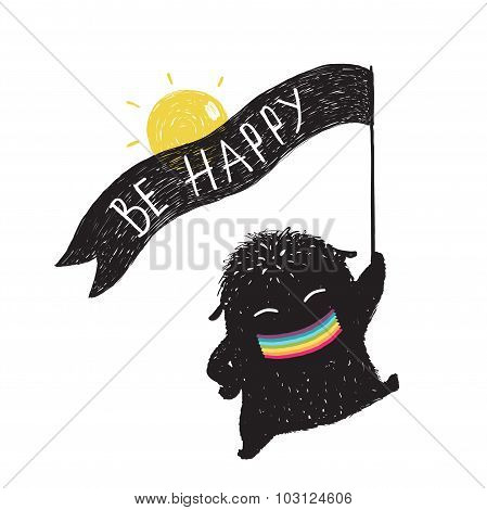 Funny Sunny Happy Cute Little Black Monster with Ribbon Flag