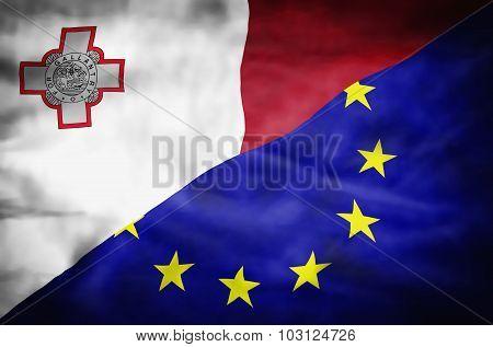Malta and European Union mixed flag.