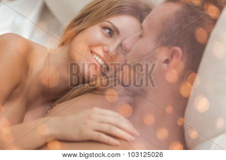 Portrait Of Embracing Amorous Couple