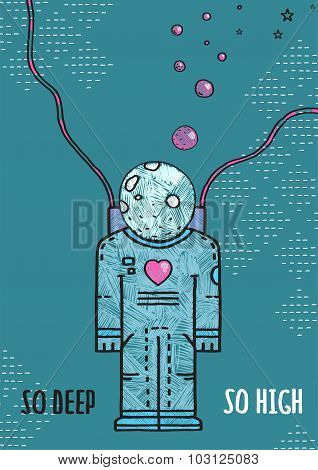 Outer Space Astronaut in Love Line Art Romantic Illustration with Lettering