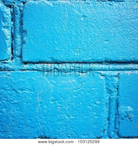 Brick Wall Painted Blue. Closeup For Backdrop.