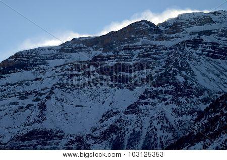 Snowy peak in Pyrenees mountains, Pineta Valley, Bielsa, Huesca, Aragon, Spain