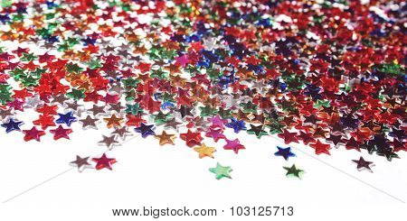Text Frame With Heap Of Colorful Stars. Scatter.