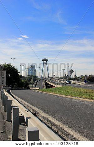 Novy Most or New Bridge in Bratislava, Slovakia