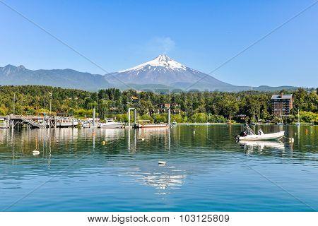 Reflection Of Villarrica Volcano, Pucon, Chile