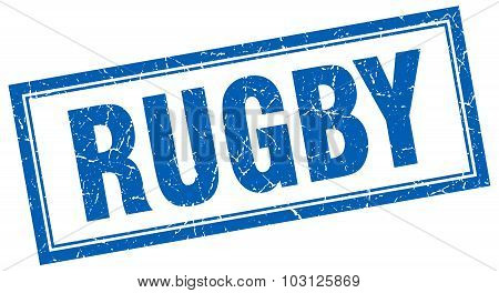 Rugby Blue Square Grunge Stamp On White