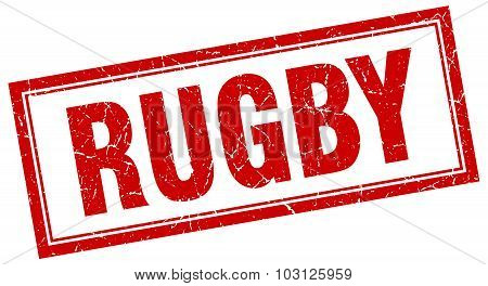 Rugby Red Square Grunge Stamp On White