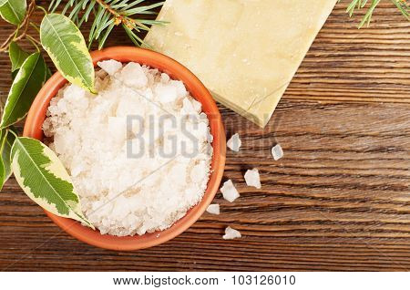 Salt And Soap On A Wooden Background
