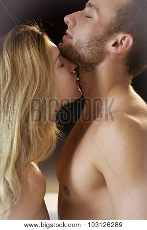 Loving Couple Kissing Tenderly