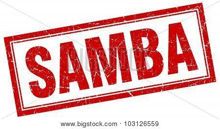Samba Red Square Grunge Stamp On White