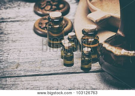 Natural Aromatic Essential Oils In Retro Style