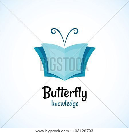 Open Book Logo Witn Butterfly Horns At The Top.