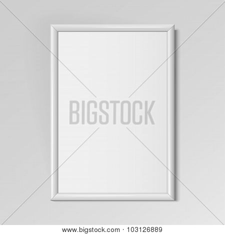 Realistic White Vertical Frame For Paintings