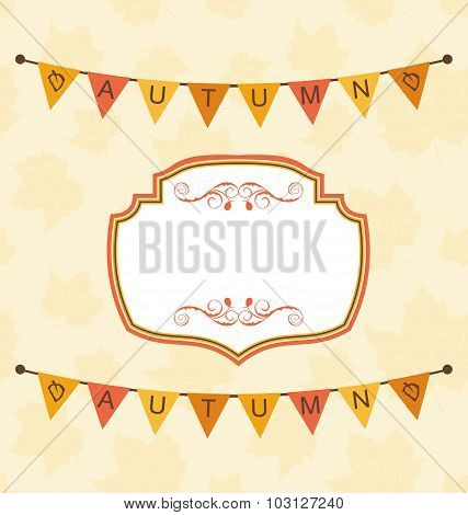 Autumn Cute Frame with Bunting Pennants