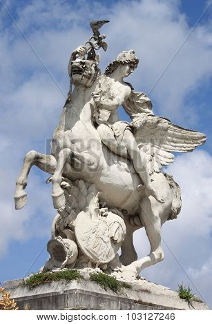 Statue of Mercury riding Pegasus