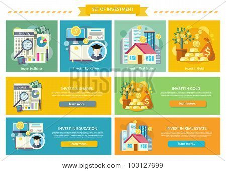 Set Concept Investment Flat Style