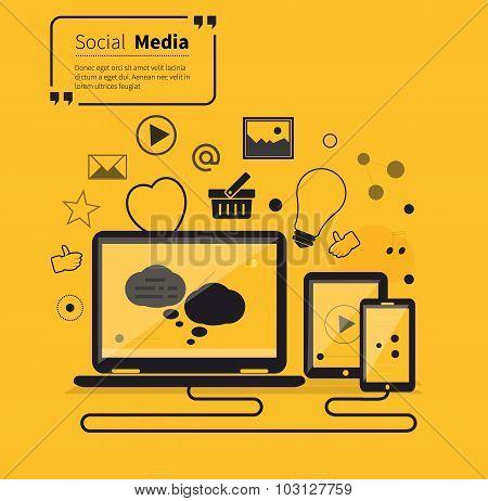 Social Networks Media Online Flat Style