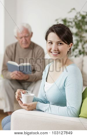 Smiling Carer And Old Man