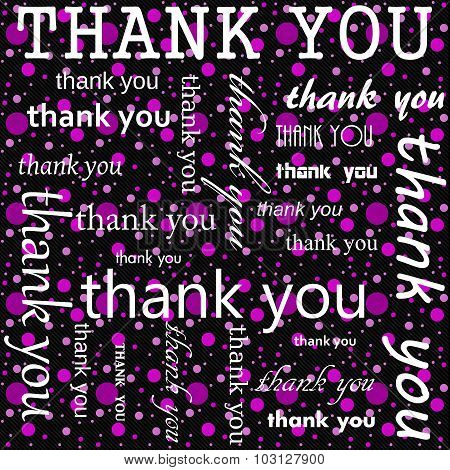Thank You Design With Pink And Black Polka Dot Tile Pattern Repeat Background
