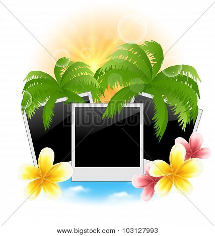 Set photo frame with palms, flowers frangipani, seascape backgro
