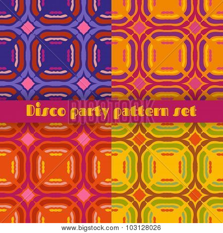 Disco Party Seamless Patterns Set