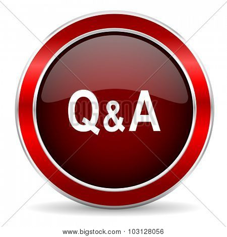 question answer red circle glossy web icon, round button with metallic border