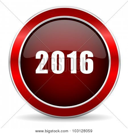 year 2016 red circle glossy web icon, round button with metallic border
