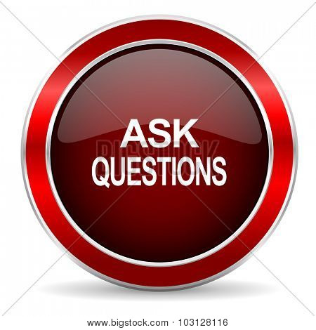 ask questions red circle glossy web icon, round button with metallic border