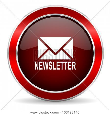 newsletter red circle glossy web icon, round button with metallic border