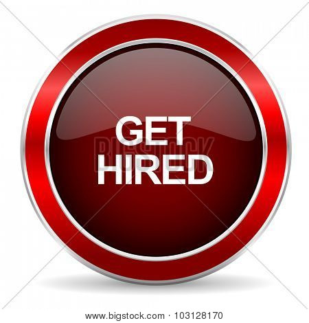 get hired red circle glossy web icon, round button with metallic border