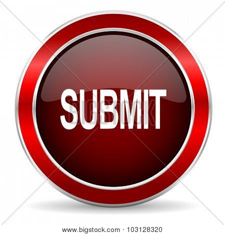submit red circle glossy web icon, round button with metallic border