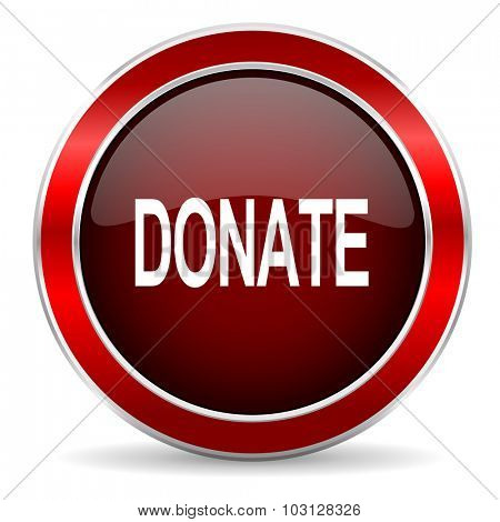 donate red circle glossy web icon, round button with metallic border