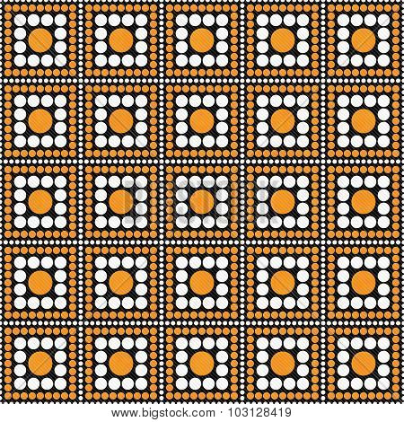Orange, Black And White Polka Dot Square Abstract Design Tile Pattern Repeat Background