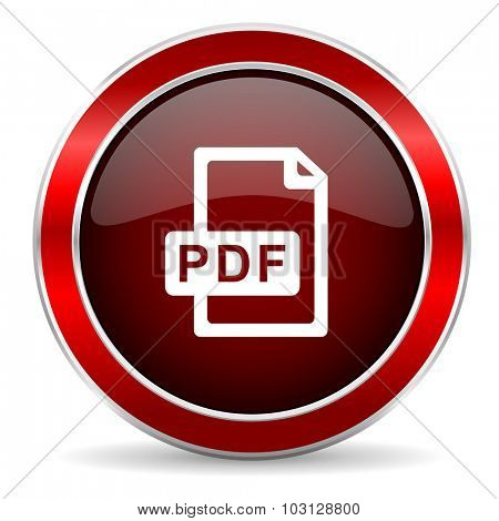 pdf file red circle glossy web icon, round button with metallic border