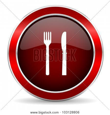 eat red circle glossy web icon, round button with metallic border