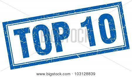 Top 10 Blue Square Grunge Stamp On White