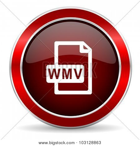 wmv file red circle glossy web icon, round button with metallic border