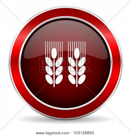 agricultural red circle glossy web icon, round button with metallic border