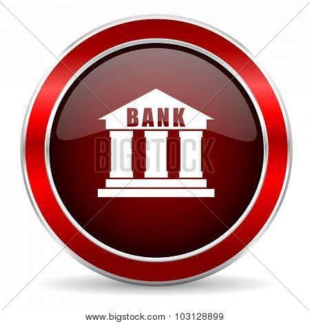 bank red circle glossy web icon, round button with metallic border