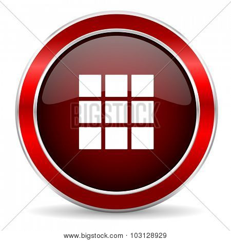 thumbnails grid red circle glossy web icon, round button with metallic border