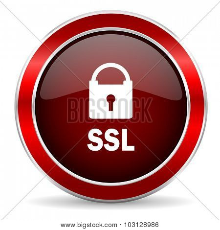 ssl red circle glossy web icon, round button with metallic border