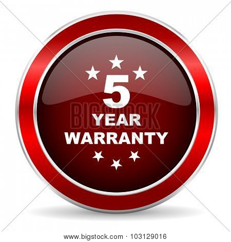 warranty guarantee 5 year red circle glossy web icon, round button with metallic border