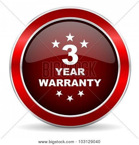 warranty guarantee 3 year red circle glossy web icon, round button with metallic border