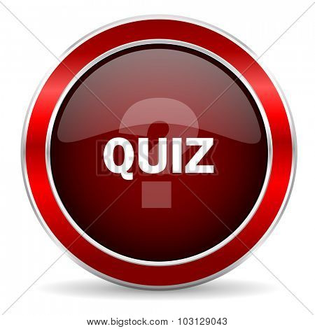 quiz red circle glossy web icon, round button with metallic border