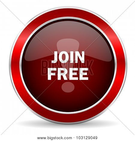 join free red circle glossy web icon, round button with metallic border