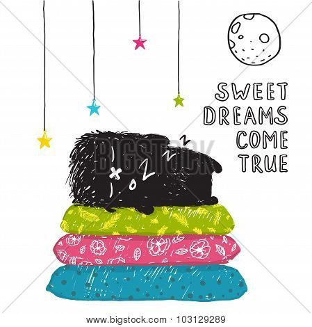 Funny Cute Little Black Monster Sleeping Dreams Come True Greeting Card or Invitation